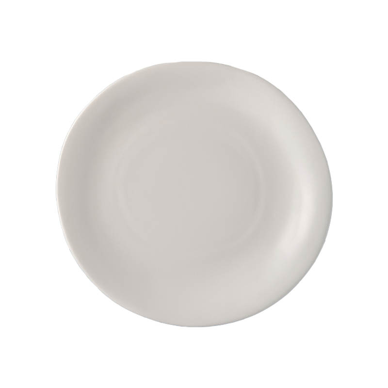 Bílý nepravidelný kulatý talíř MODERN 26 x 24 cm