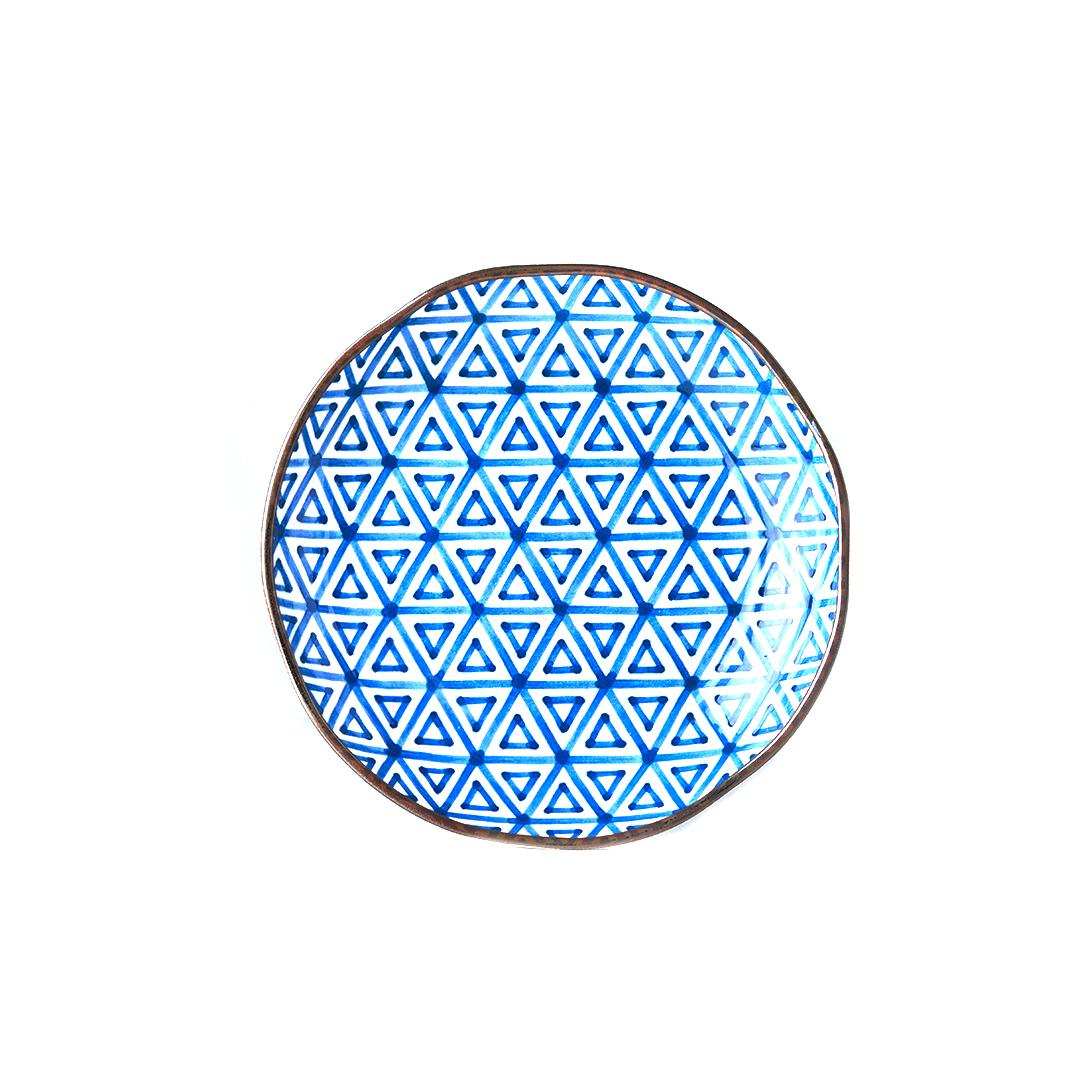 Mělký talíř Triangle Indigo Ikat 23 cm