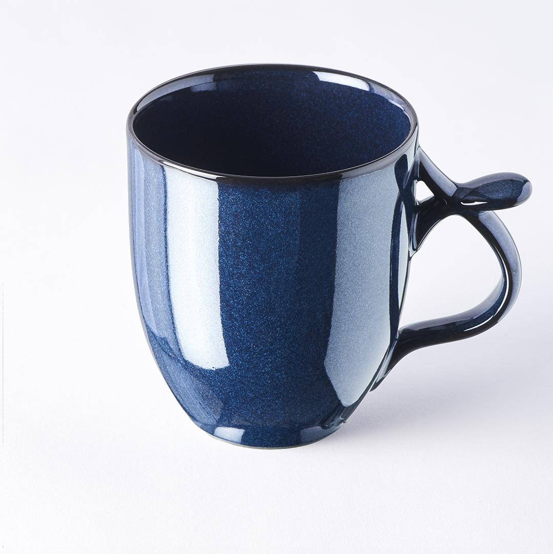 Dark Blue Mug with handle & thumb rest