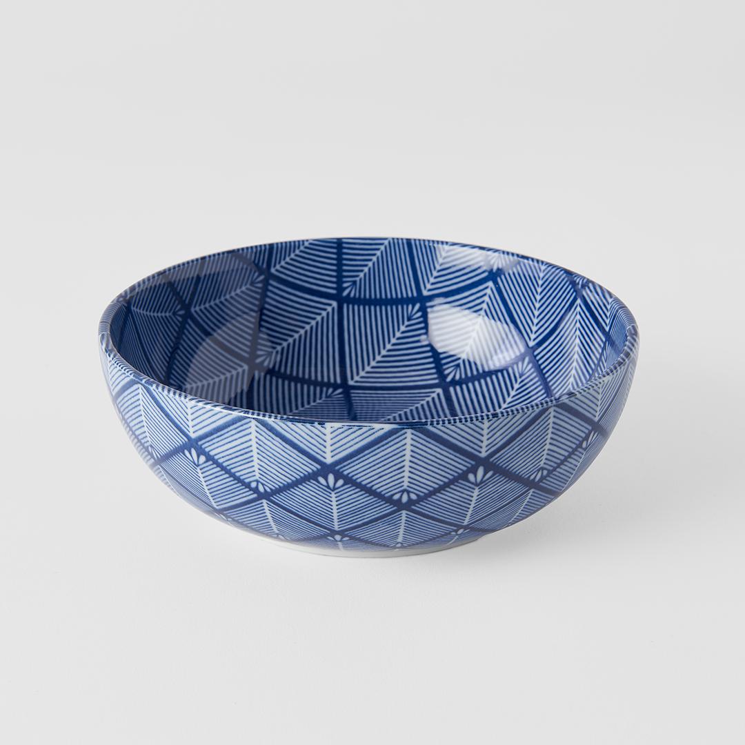 Blue & White Cross Hatch Design Bowl 16 cm